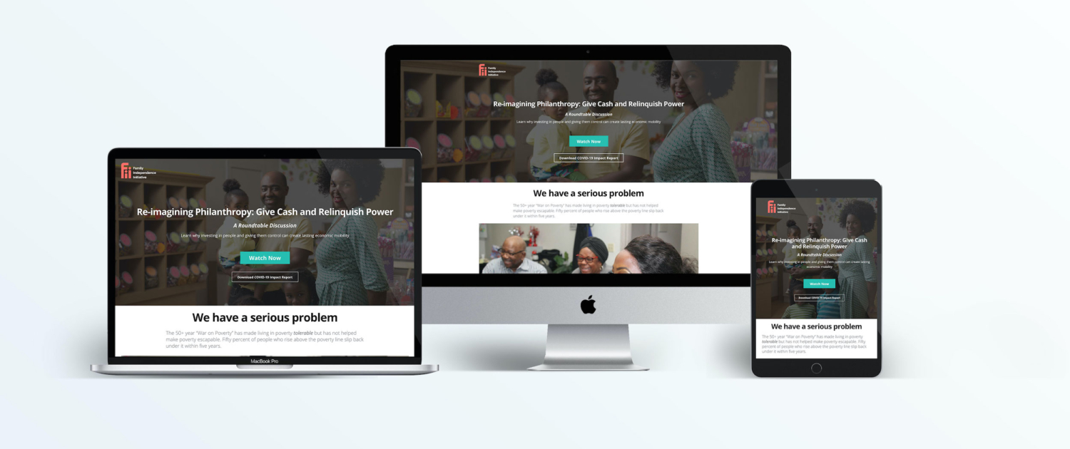 mock up of the Make Poverty Escapable Landing page