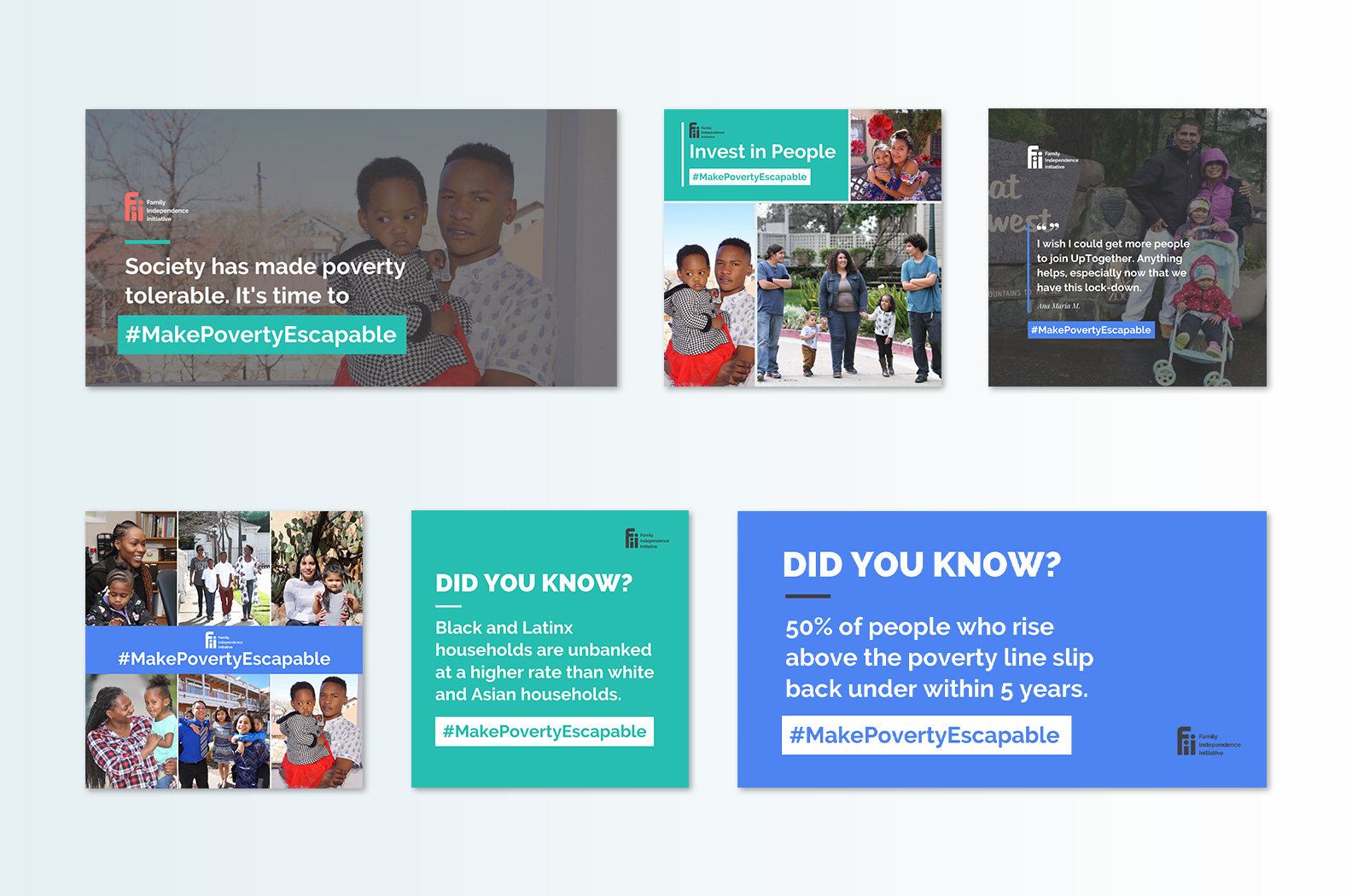 Examples of the graphics created for the Make Poverty Escapable social media campaign