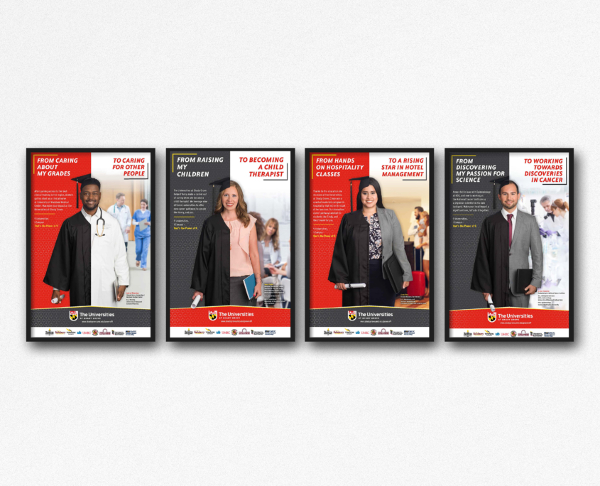 Mock ups of 4 posters from the USG Power of 9 marketing campaign