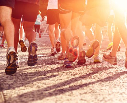 Focus on runners feet in a marathon