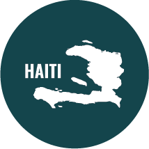circle with outline of Haiti