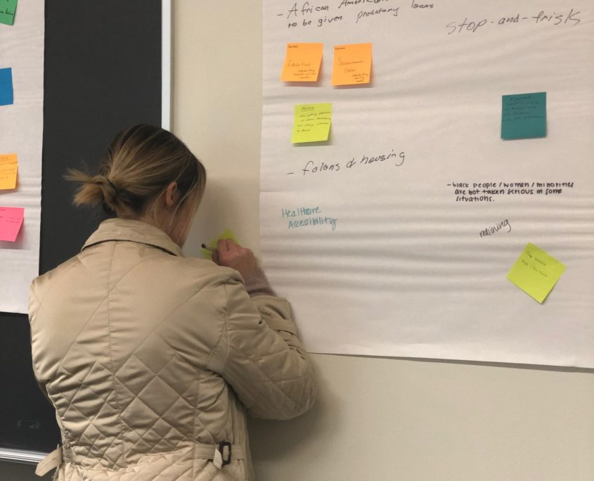 One of the social impact fellows adds their ideas during a design thinking session.