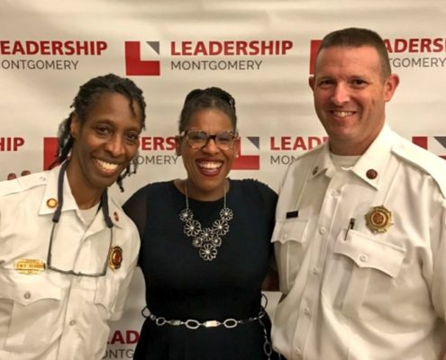 C.Marie Taylor with Montgomery County first responders during the April 2020 Leadership Montgomery Core Class Session