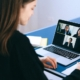 A woman at a virtual meeting