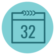 calendar icon with 32 in the center