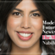 Episode 7 Mission Forward Podcast: close up of woman's face with text reading Modeling the Future of News with The Markup's Nabiha Syed