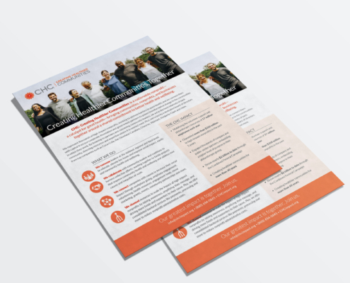Mock up of CHC about us fact sheet