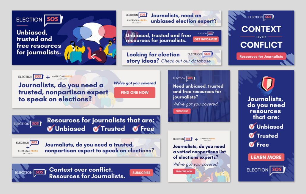 mock up of election sos digital ads of various sizes